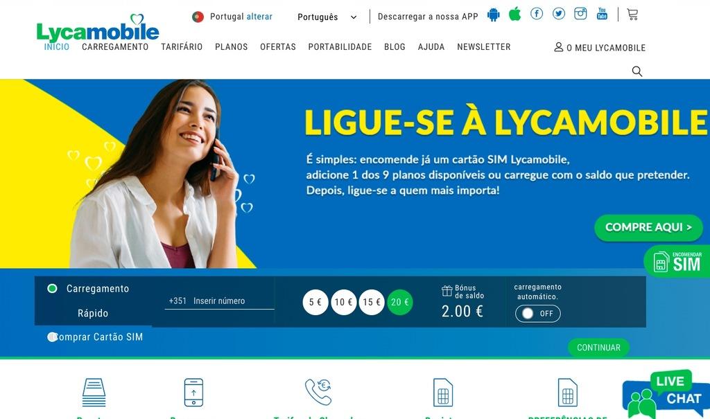 LycaMobile PT Portugal Starter Prepaid SIM Card UE