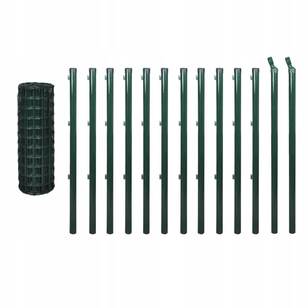 Euro ogrodzenie, słupki,25 x 1,5 m, zielone, stal