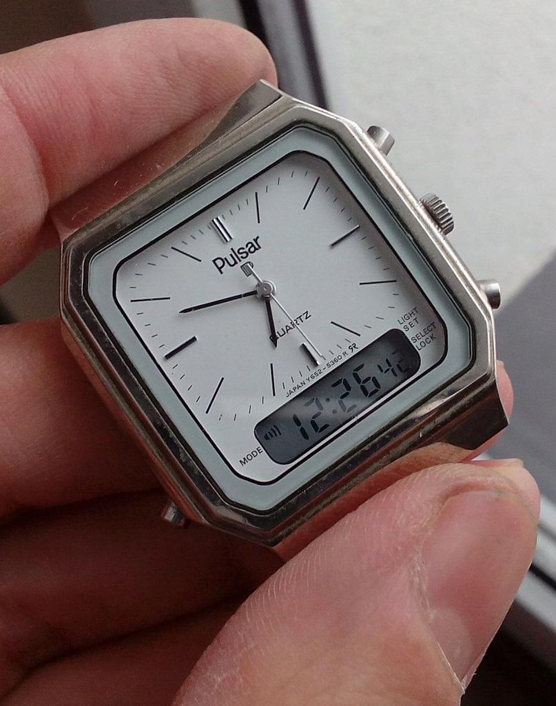 Piękny, japoński zegarek Pulsar by Seiko dual time