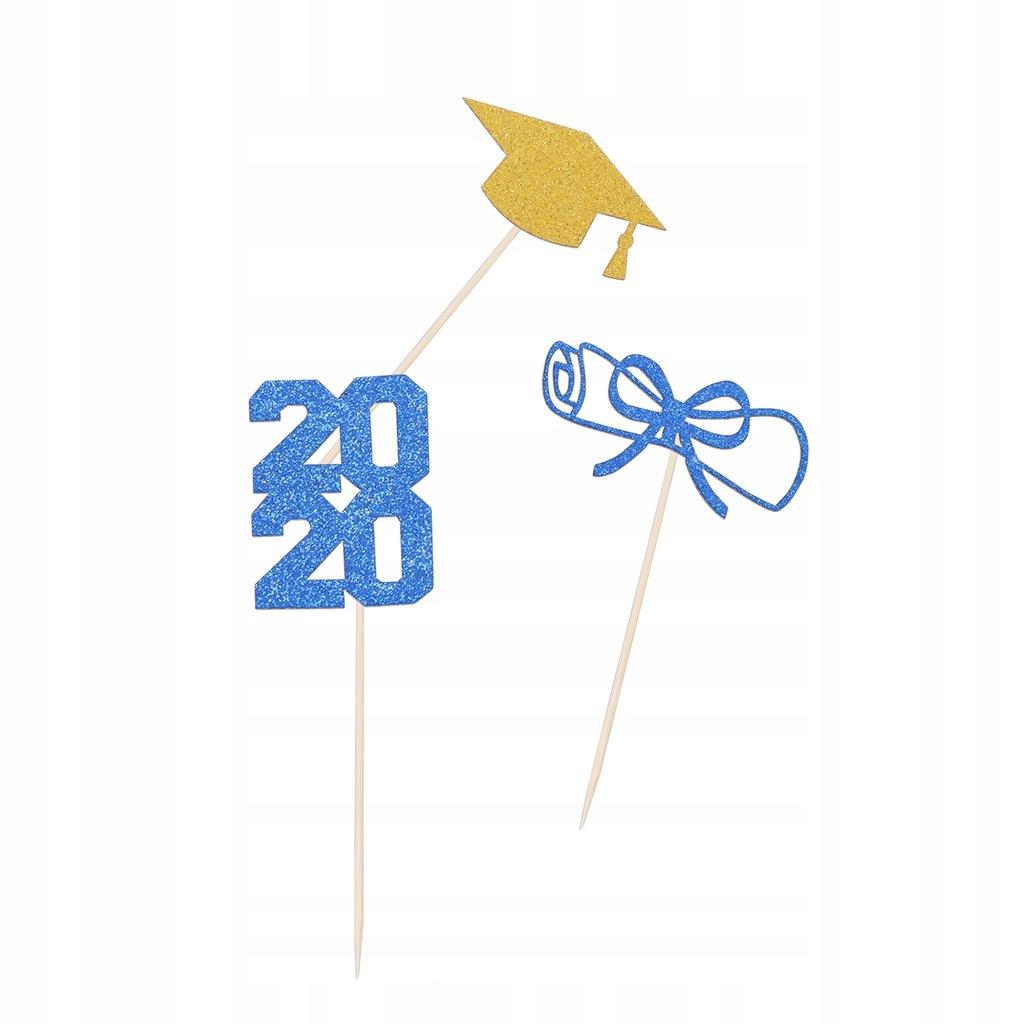 72szt Motyw ukończenia szkoły Shiny 2020 Ciasto