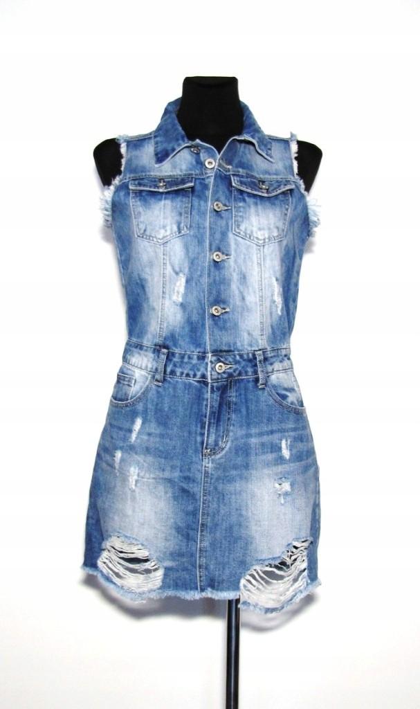 Sukienka jeansowa przetarcia dziury S