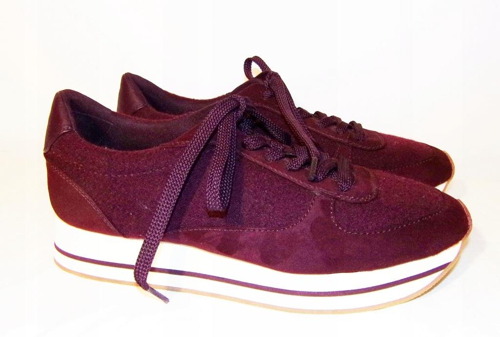 ZARA sneakersy sportowe buty damskie bordowe 40