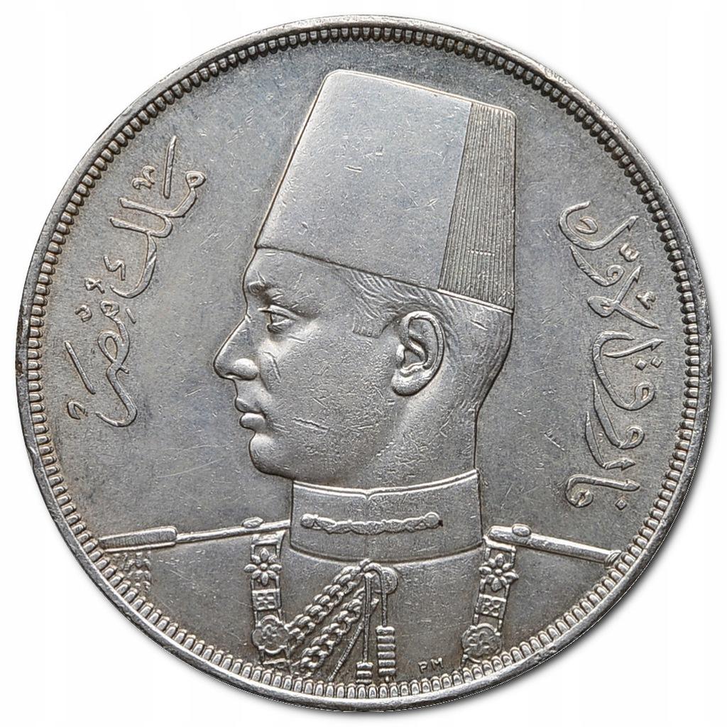 24.EGIPT, FARUK I, 20 PIASTRÓW 1939