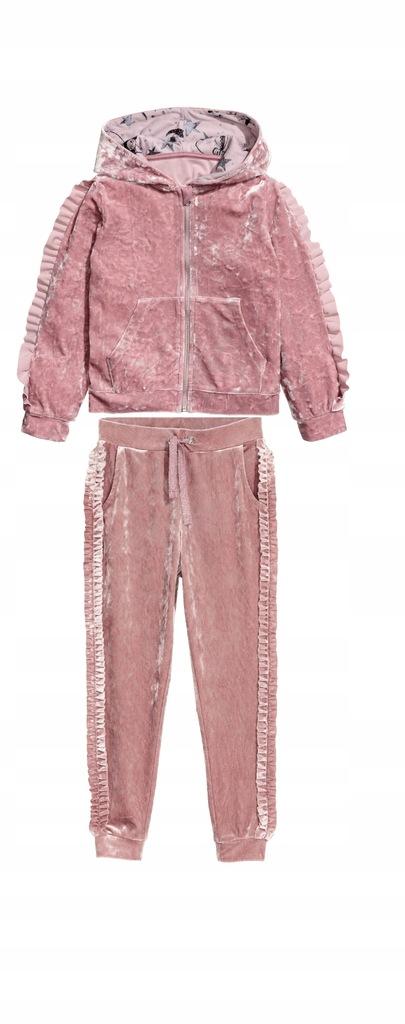 Welurowy dres H&M 122/128 nude róż BDB falbany