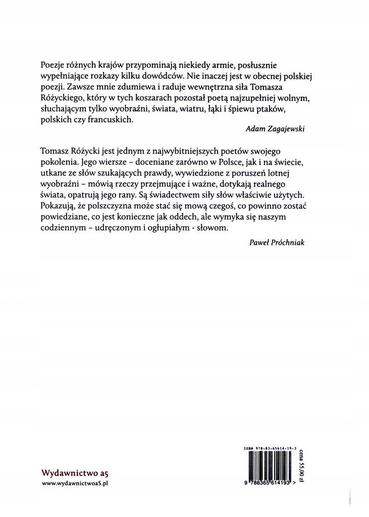 Wiersze Wybrane Tomasz Różycki Książkacd 7535914676