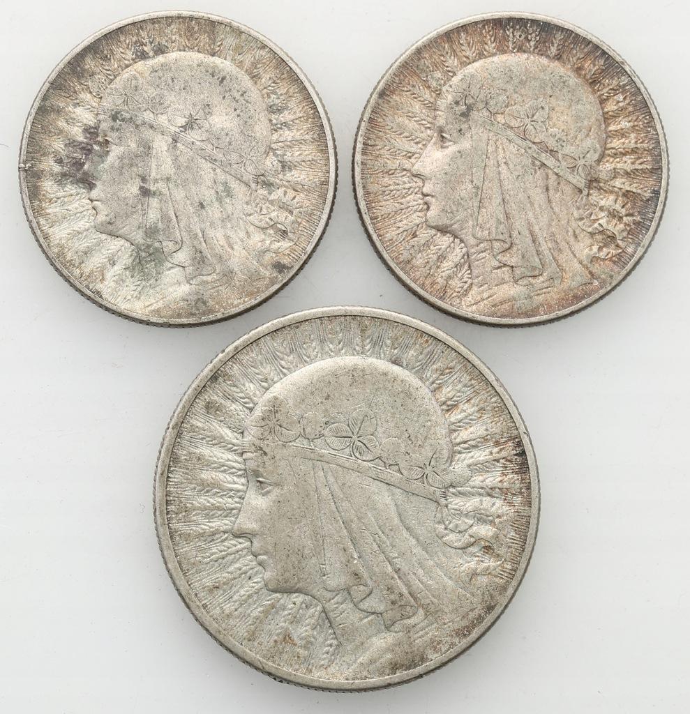 2 x 5 złotych 1933 + 10 złotych 1932 głowa kobiety