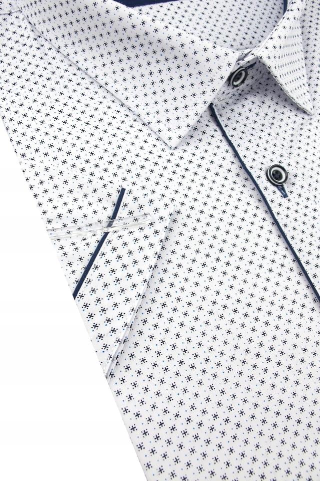 Duża Koszula Męska Modely biała we wzorki K819 8038064327  Pe0px
