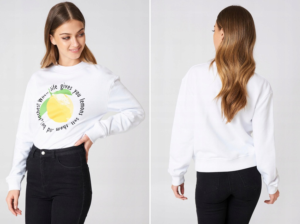 bluza biała z cytryną