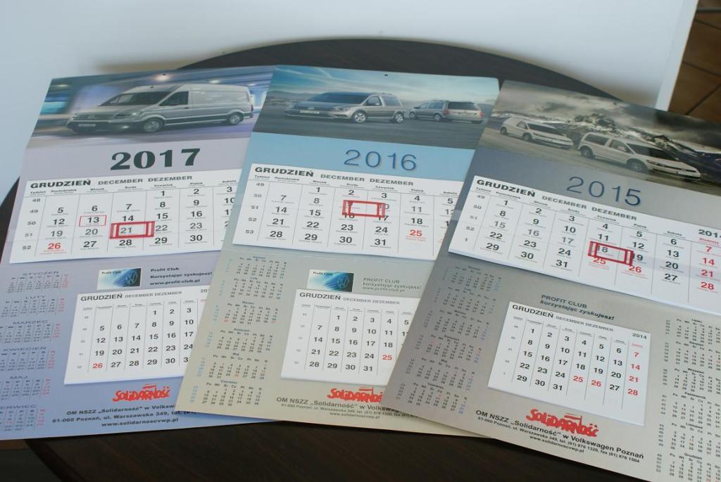 Kalendarze ścienne VOLKSWAGEN 2017, 2016, 2015