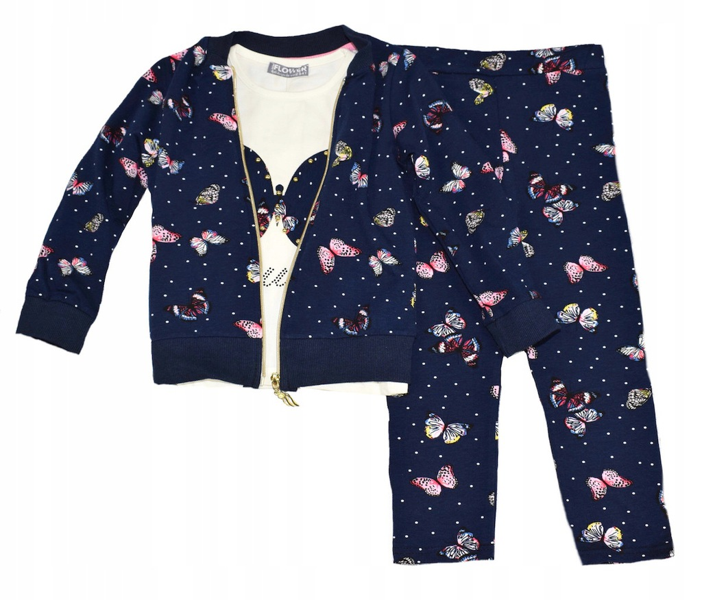 Komplet 3 cz, bluza bluzka getry motylki 116-122