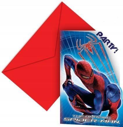 Zaproszenia z Kopertami Spiderman Urodziny 6 szt.