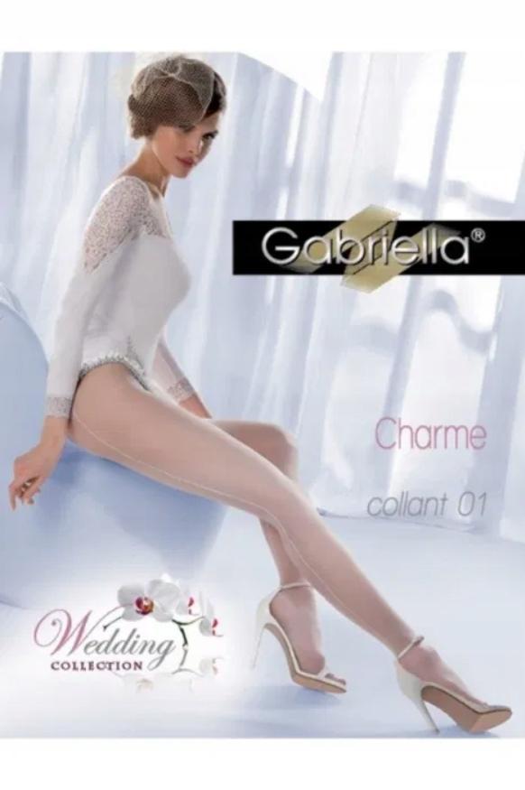GABRIELLA rajstopy Charme collant 01 białe