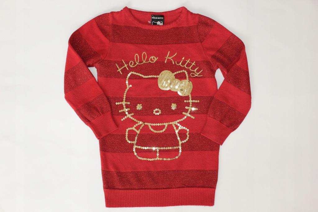 Hello Kitty sweter sweterek cekiny 110-116 J.Nowy