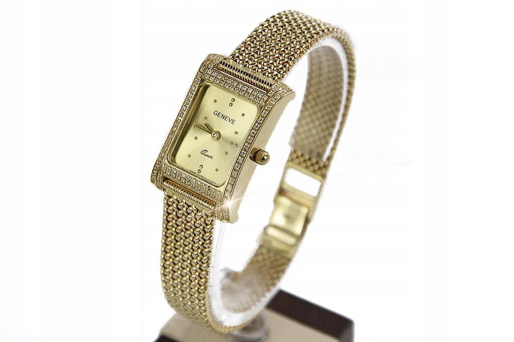 Prześliczny 14k złoty damski zegarek Geneve lw002