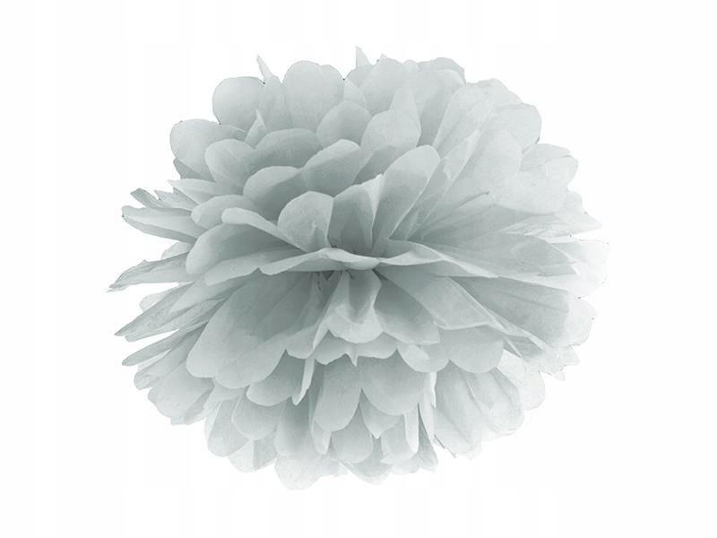 Pompon bibułowy, srebrny, 35cm