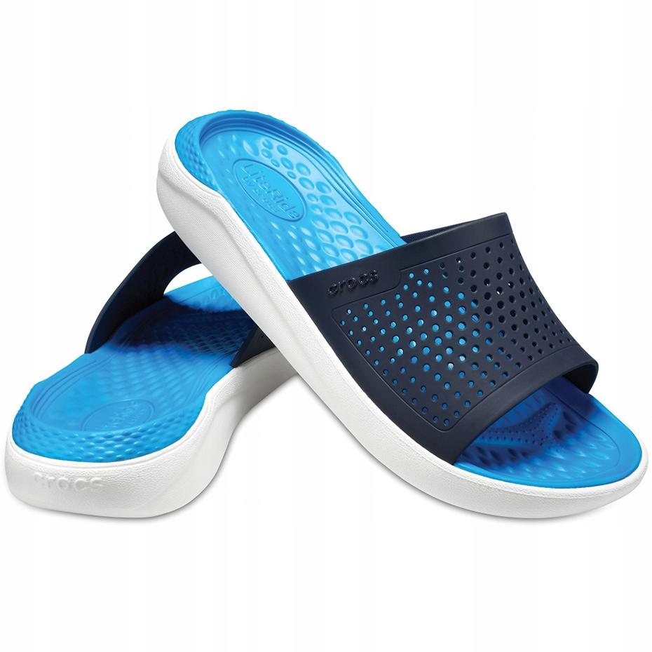 Crocs klapki Literide Slide granatowo-białe 205183