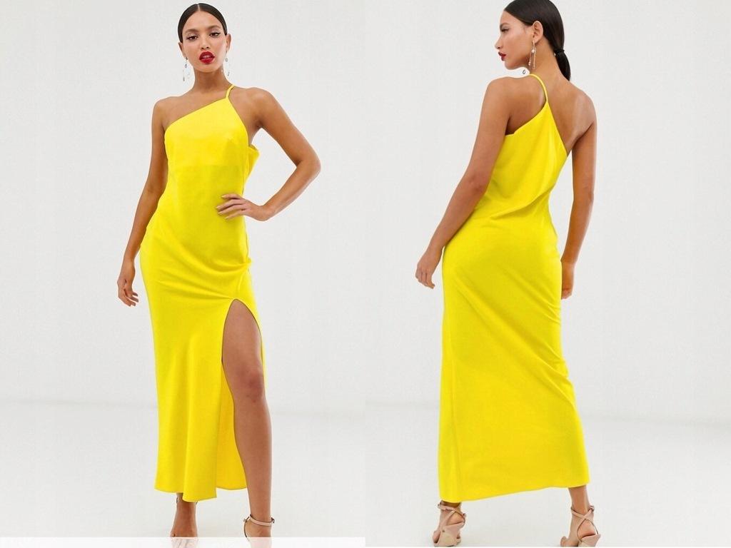 Design żólta satynowa długa sukienka XL/42