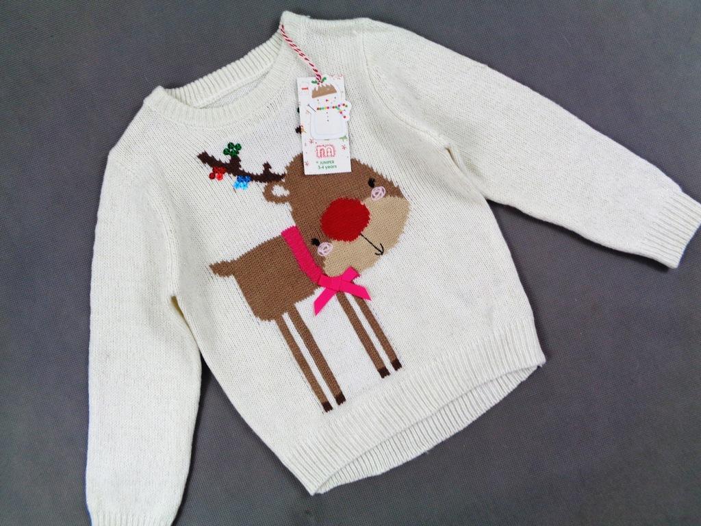 Mothercare uroczy sweterek Rudolf Nowy 104 cm