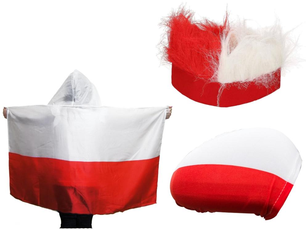 ZESTAW DLA KIBICA FLAGA POLSKA OPASKA POKROWCE 4el