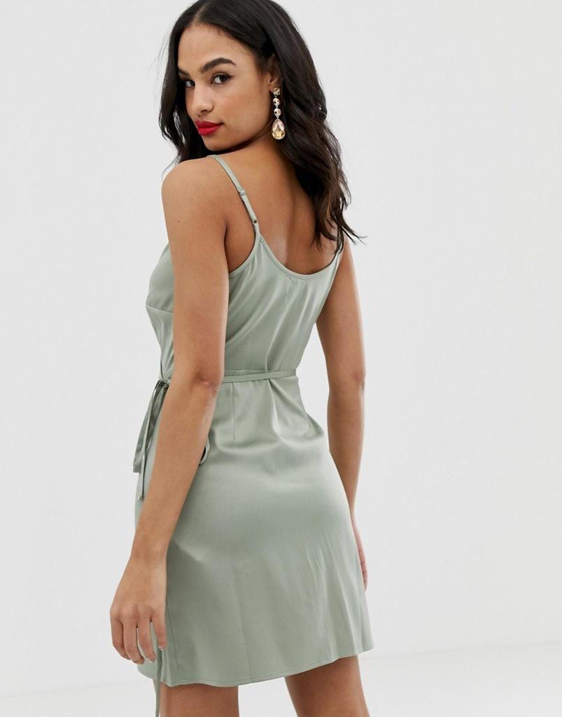 Design zielona zakładana sukienka ramiączka S/36