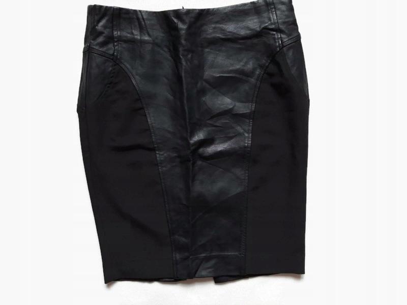 New Look- czarna spódnica skórzane wstawki - r. 38