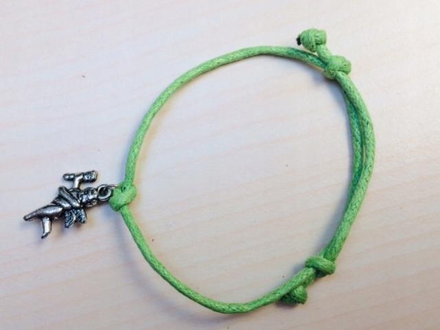 Zielona BRANSOLETKA sznurkowa ANIOŁ ANIOŁEK