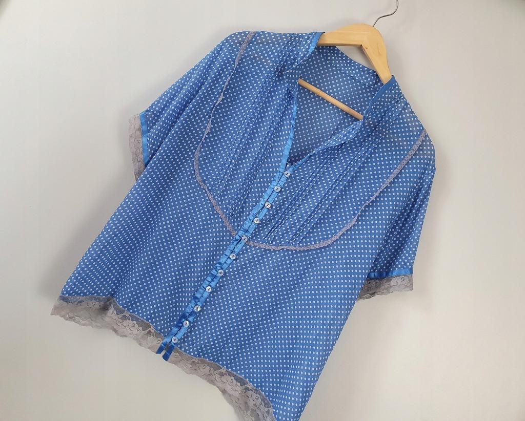 Niebieska bluzeczka w groszki 46/48 z koronką