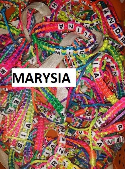 Bransoletka ze sznurka ściągana imię MARYSIA