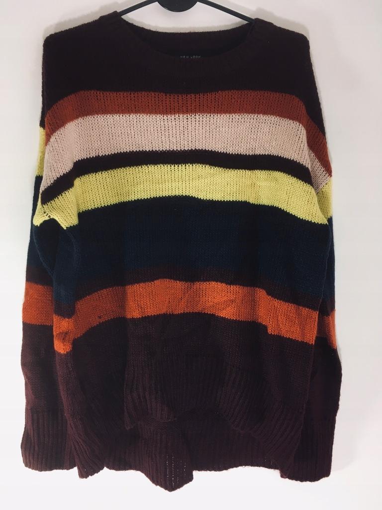 New look_sliczny sweter ciepły miły m pasy