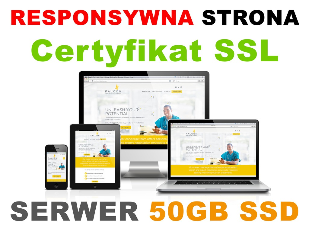 Strona internetowa Serwer 50GB Certyfikat SSL FVAT