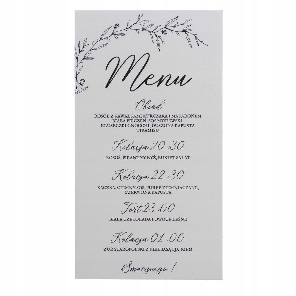 Menu weselne karta dań minimalistyczne proste ślub