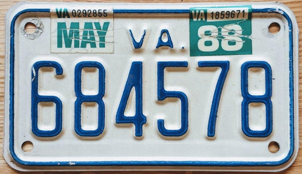 Tablica Rejestracyjna Motocyklowa Virginia Usa 7523685999 Oficjalne Archiwum Allegro