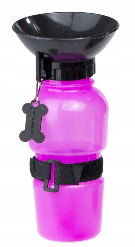 Butelka turystyczna dla psa bidon miska 500ml róż