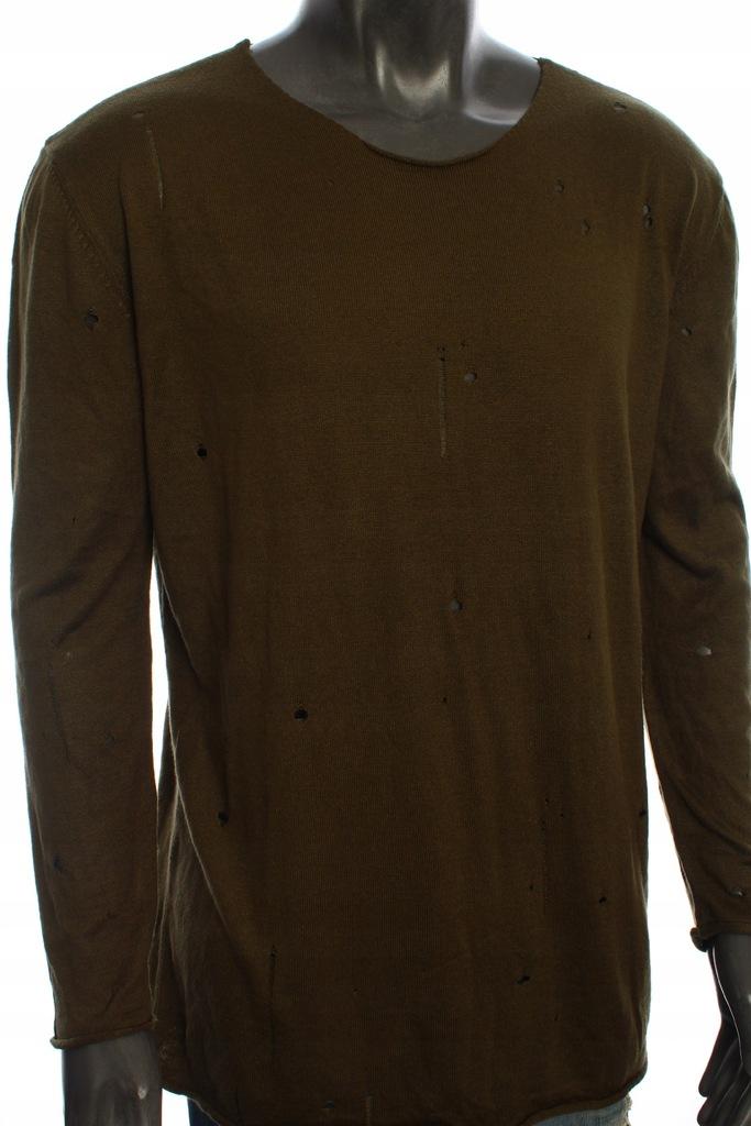 ZARA MAN Sweterek stylowy z dziurami do jeans | L