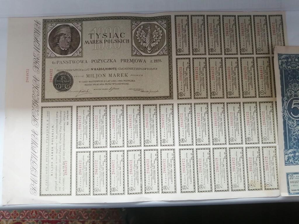 POŻYCZKA 1000 MAREK POLSKICH 1920 + 5 DOLARÓW 1931