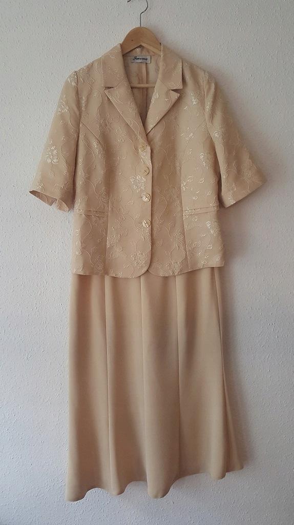 Beżowy Elegancki Kostium Spódnica Żakiet, Iwona