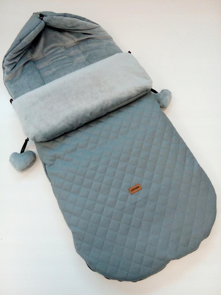 Wodoodporny śpiwór do wózka zima szary 85cm