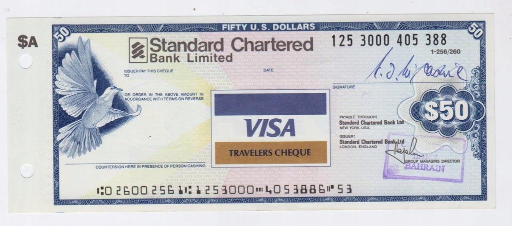 Czek podróżny systemu VISA nominał 50 dolarów