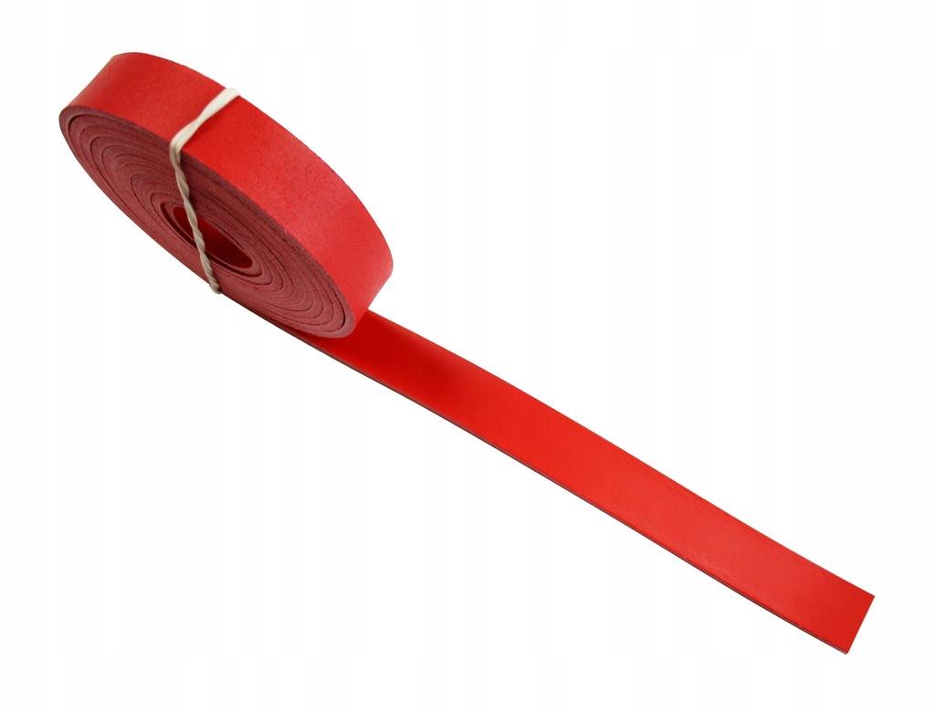 Pasek skórzany do torebki 25 mm 100 cm - czerwony