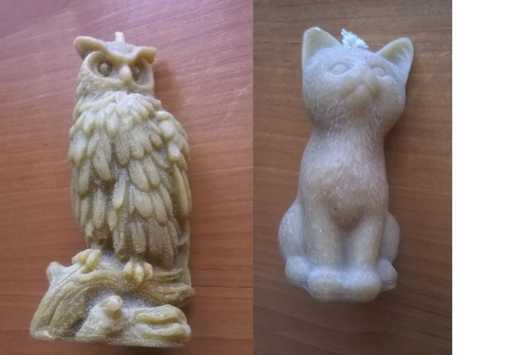 2x świeca woskowa Sowa + Kot figurka wosk BDB
