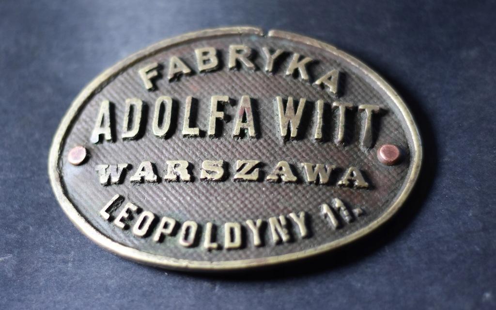 Plakieta brąz A. WITT Warszawa Leopoldyny