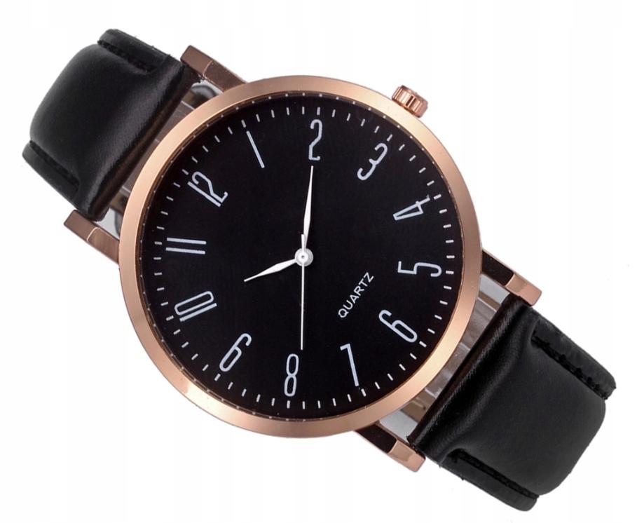 Zegarek klasyczny złoty skórzany pasek czarny