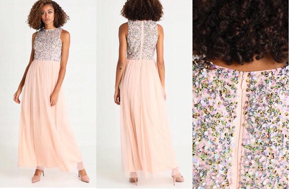 LACE & BEADS róż sukienka zdobiona tiul 36 S