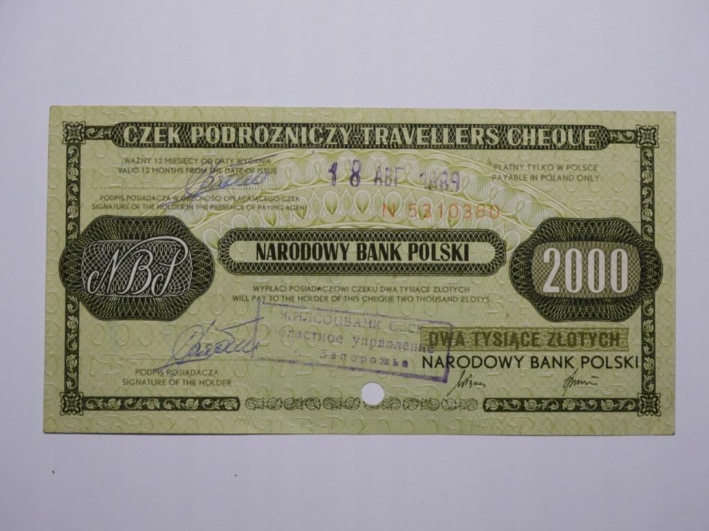 POLSKA - Czek Podróżny 2000 zł. PRL