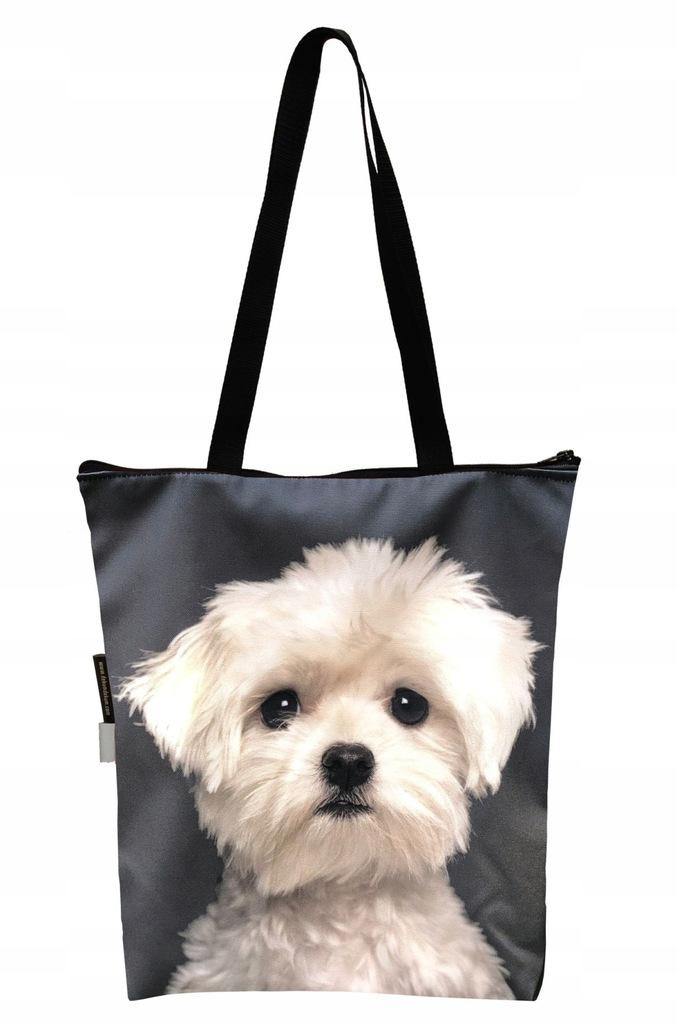 FERA Torba na zakupy z psem Maltańczyk