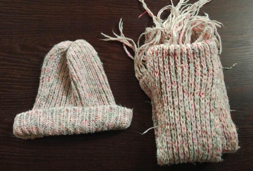 ZARA komplet czapka szalik różowy
