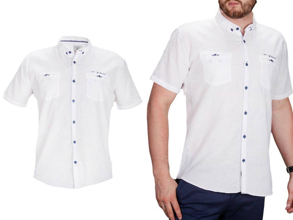 Koszula lniana biała BG 5416 B04 fashionmen2 r.4XL  1z2IL