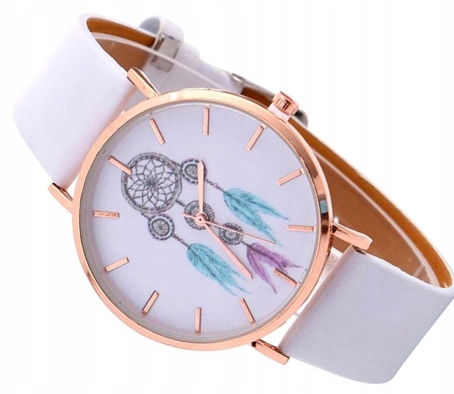 Zegarek skórzany biały złoty łapacz snów pióra