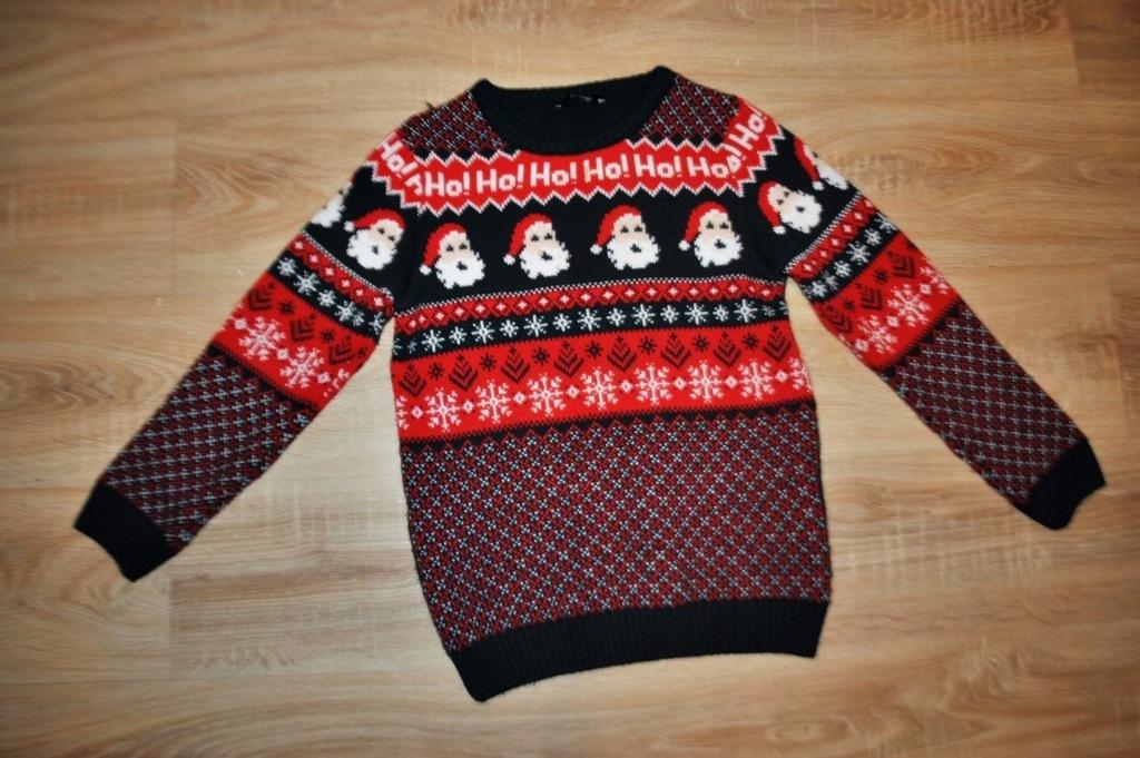 GEORGE świąteczny sweterek MIKOŁAJE 152-158 BDB