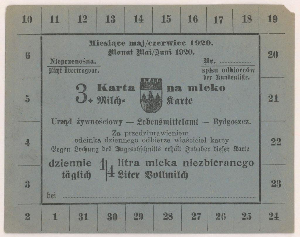 4567. Bydgoszcz Karta na mleko niezbierane 1920